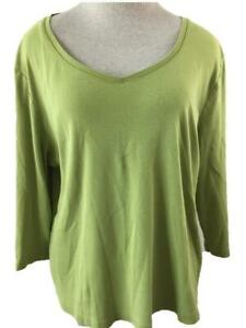 St Johns Bay knit top Size XL green 3/4 sleeve womens cotton V neck