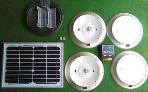 Details about 12v 10w solar LED lighting kit NO battery suit stables shed  garage with 4 lights