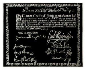 1666 SWEDEN PALMSTRUCH 10 DALER FIRST EUROPEAN BANKNOTE SILVER MINI INGOT