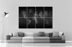 carte du monde world map digital version wall art poster grand format a0 ebay. Black Bedroom Furniture Sets. Home Design Ideas