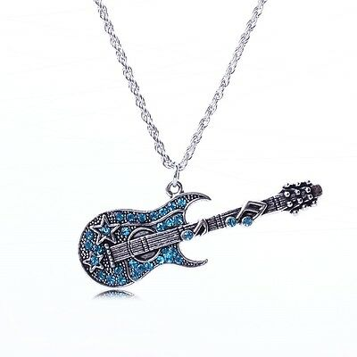Bling Blue rhinestone cute Guitar white K link chain fashion pendant necklace