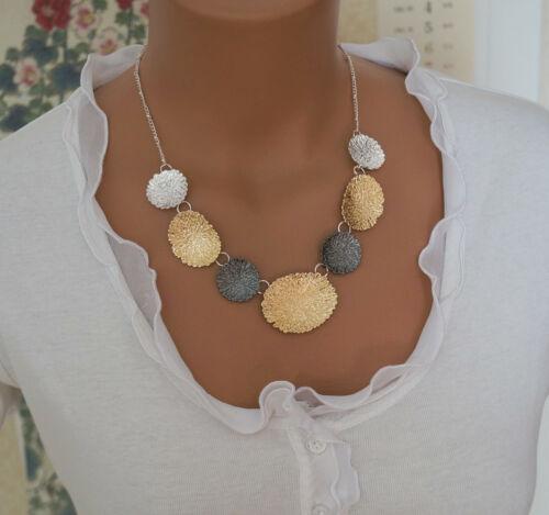 Bettelkette Statement Halskette Modeschmuck Silber Grau Gold Collier Ohrringe