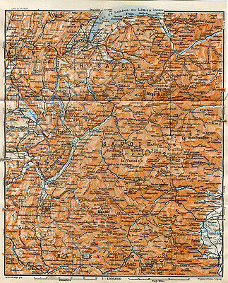French Alps Skiing Region France Old Original Antique Map 1914 Carte Mont Blanc Ebay