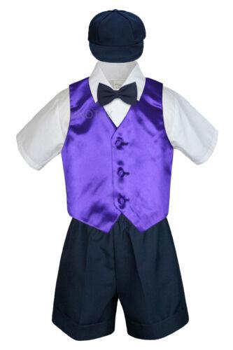 Boys Toddler Formal Vest Shorts Suits Satin Vest Navy Bow Tie Hat 5pc Set S-4T