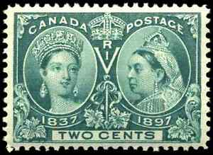 Canada #52 mint VF OG NH 1897 Queen Victoria 2c green Diamond Jubilee CV$150.00