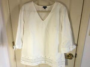 Woman-s-Talbots-size-Large-white-eyelet-hemline-tie-sleeve-cotton-v-neck-top