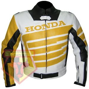 HONDA-9019-YELLOW-MOTORBIKE-MOTORCYCLE-BIKERS-COWHIDE-LEATHER-ARMOURED-JACKET