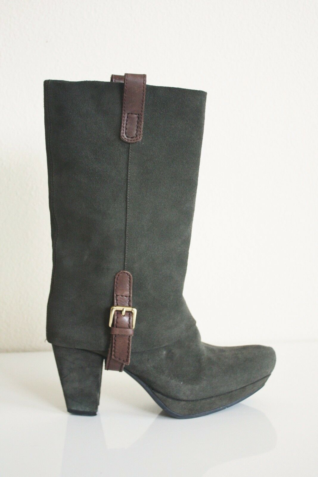 EARTHIES LINTZ MID-CALF BOOTS 8 Green Suede  Fold Over Platform Cowboy shoes