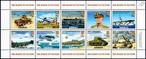 WWII-Route-To-Victory-Battle-of-Tarawa-Aircraft-amp-Ship-Stamp-Sheet-2005-Kiribati