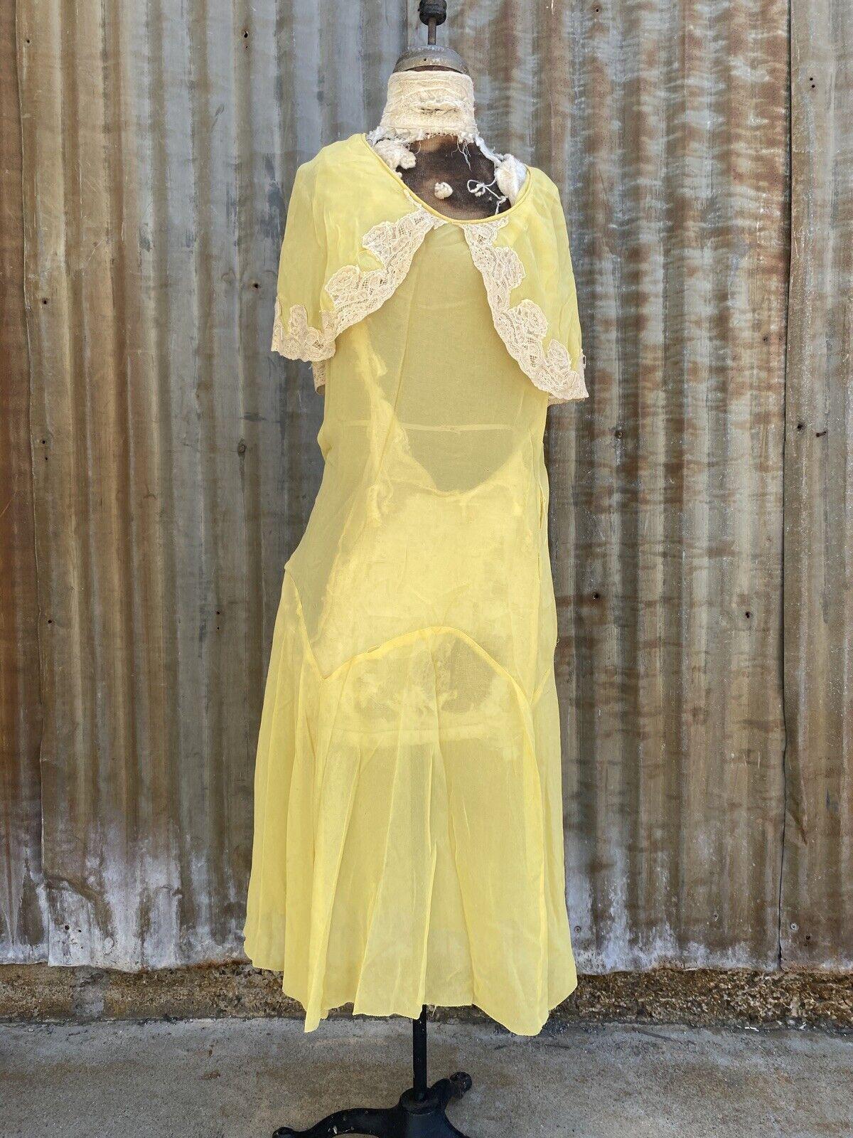 Antique 1920s 1930s Yellow Silk Chiffon Midi Dres… - image 1
