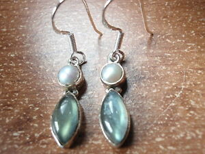 Cultured-Pearl-amp-Labradorite-Marquise-925-Sterling-Silver-Earrings-Corona-Sun