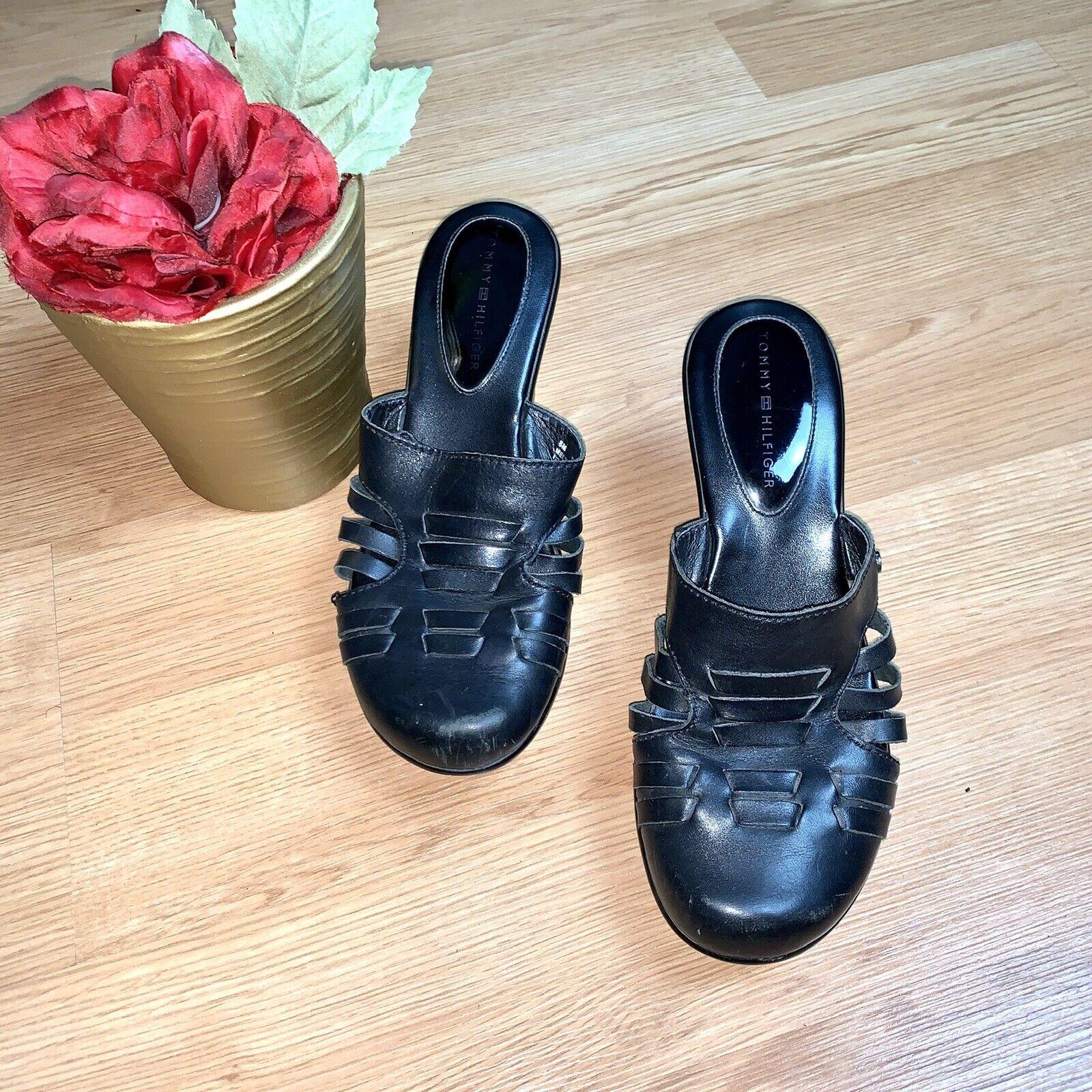 Tommy Hilfiger  Black Mule Leather Wedges Size 8 - image 4