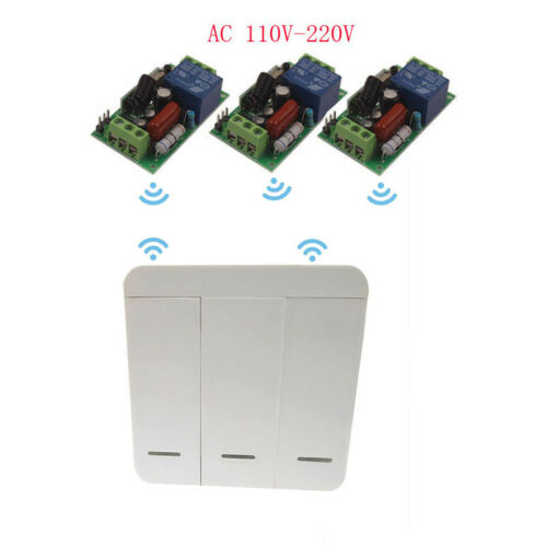 110V Remote Switch Wall Panel Control 220V 3 Way Wireless Switch Home Light Fans