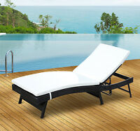 Patio Rattan Wicker Chaise Lounge Chair Adjustable Outdoor Furniture w/Cushion
