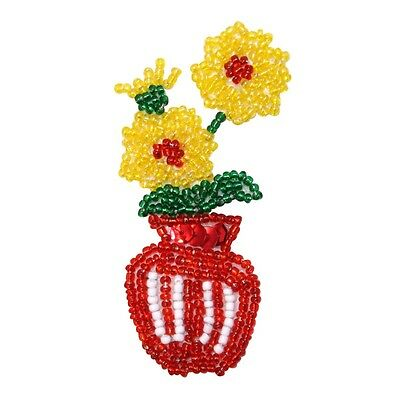 ID 9143 Yellow Garden Flowers in Red Plant Vase Beaded Iron On Applique Patch