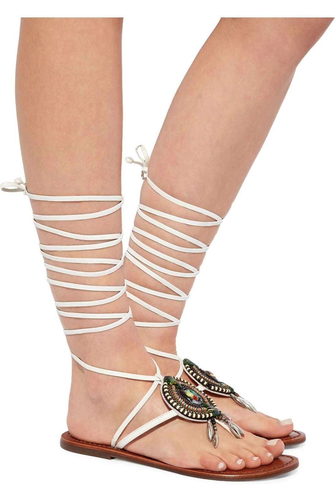 Schutz Centi Pearl White Embellished Leather Flat Tie Up Beaded Design Sandals
