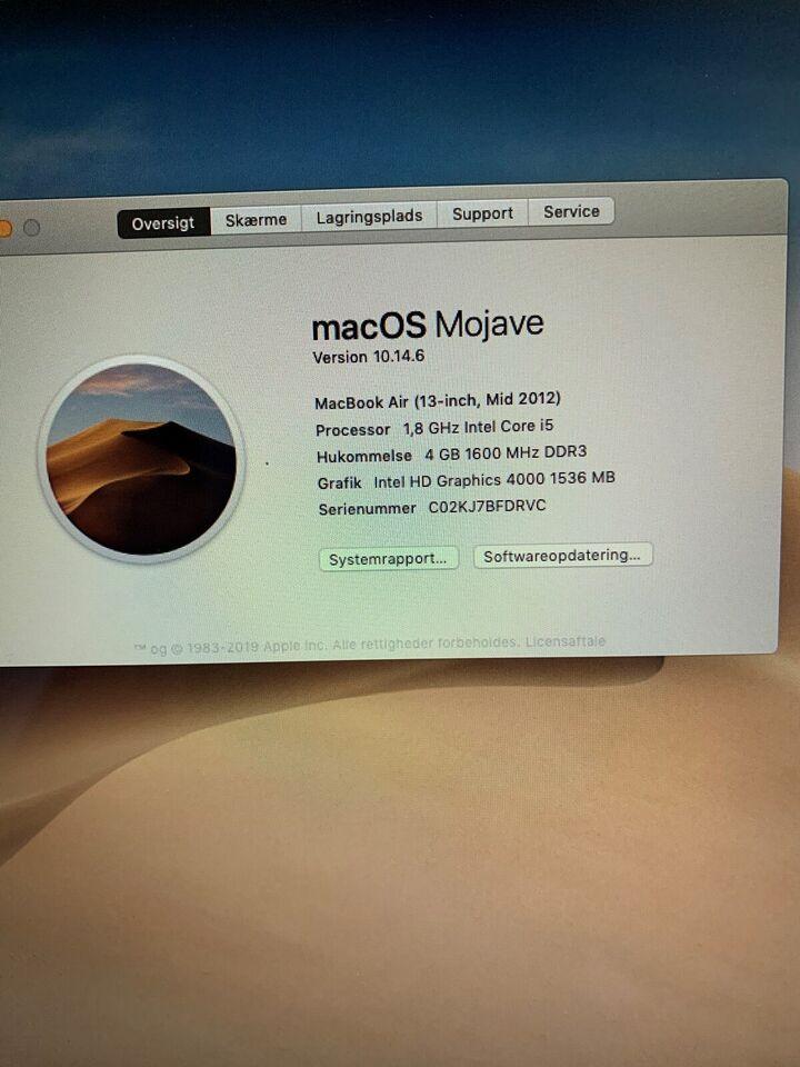 Andet mærke MacBook Air mid 2012, 1,8 GHz, 4 GB ram