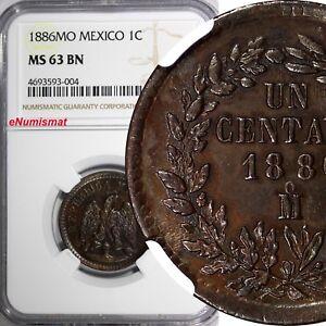 Mexico-SECOND-REPUB-Copper-1886-Mo-1-Centavo-NGC-MS63-BN-SCARCE-OVERDATE-KM391-6