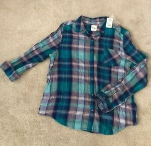 16f1ac6aa38d Mudd Flannel Plaid Girl's Long Sleeve Shirt - Teal - Size 20 1/2 ...