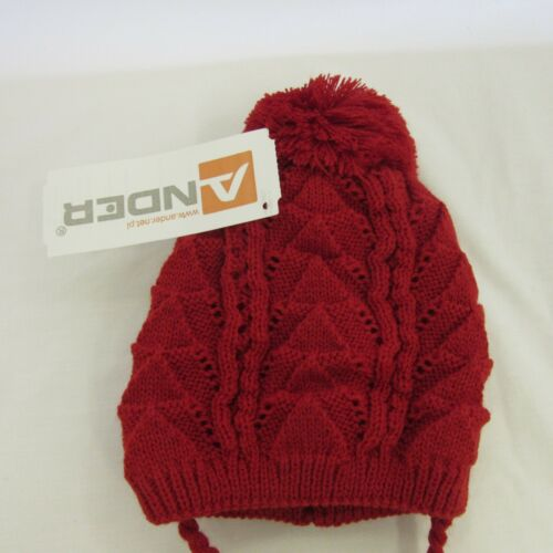 cream NEW AW19 Boy Girl Chevron Fine Knit Pom Hat Lined 0-3 years red blue