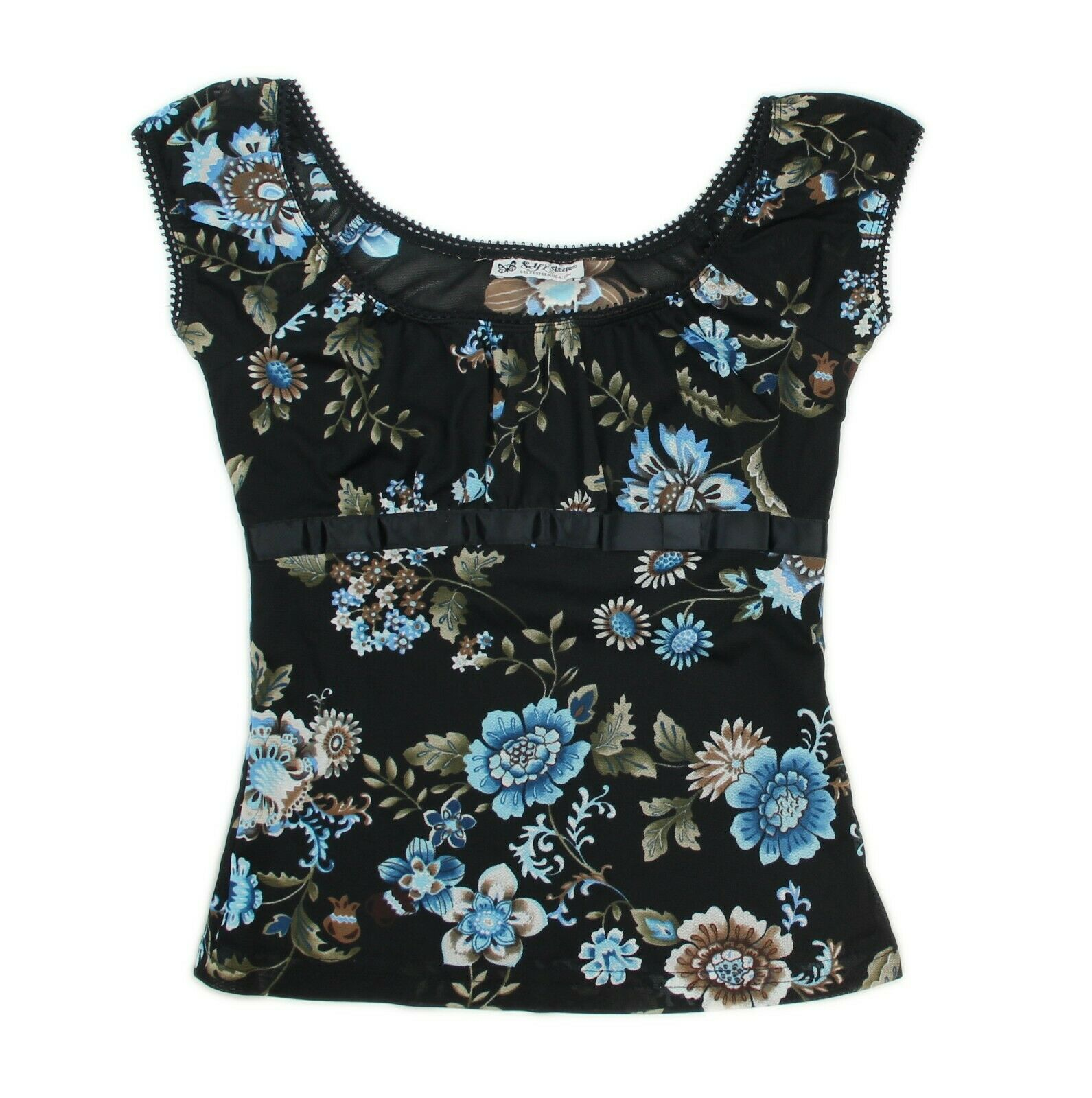 SELF ESTEEM Womens Size Small Black Blue Floral Top 9