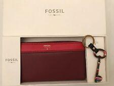 BNIB Fossil Brenna Clutch Gift Box Set. Purse and Key Ring.Wine Multi.Gift Idea!