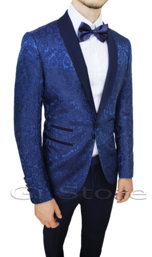 MEN'S SUIT DIAMOND SATIN BLUE FLORAL SET DRESS SMOKING ELEGANT CEREMONY