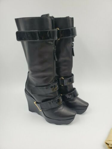 LOUIS VUITTON RUNWAY EXTREME WEDGES BLACK LEATHER