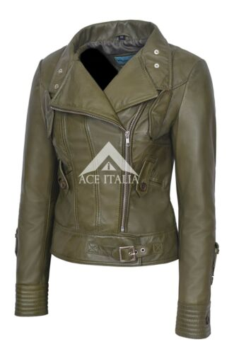 Leather 4110 Real 100 Biker Olive Army Ladies Napa Motorcycle Style Jacket PwFPd4