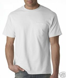 36a172bd 3 Pack Hanes Beefy T Shirts with Pocket WHITE 5190 S-3XL Cotton ...