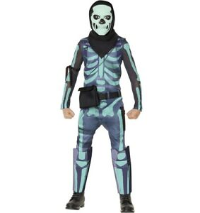Green Glow Skull Trooper CHILD Costume Fortnite NEW