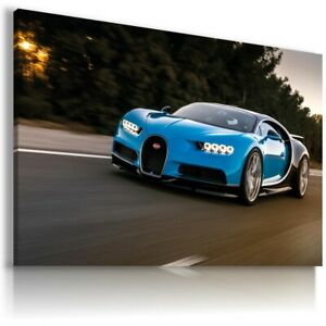 BUGATTI CHIRON BLUE Cars Wall Art Canvas Picture AU227 MATAGA NO FRAME-ROLLED