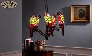 Tiffany-Style-Parrot-Chandelier-5-Light-Ceiling-Lamp-Home-Bird-Lighting-Fixture