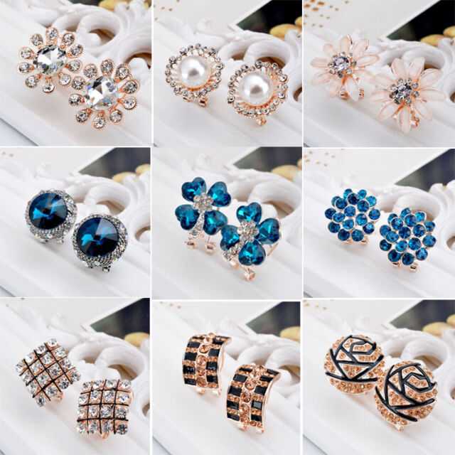 Elegant Fashion Women Lady Girls Crystal Rhinestone Flower Ear Earrings 1 Pair