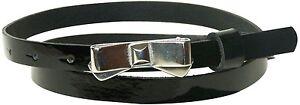 fronhofer-Estrecho-Cinturon-1-2cm-Correa-de-cuero-de-Patente-rutina-HEBILLA