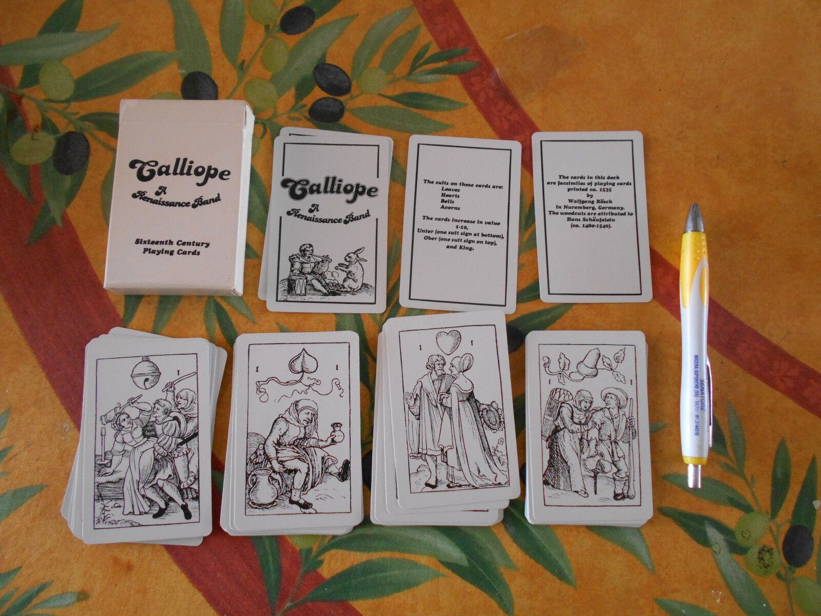 Calliope a renaissance band Sixteenth century playing cards carte poker rarità