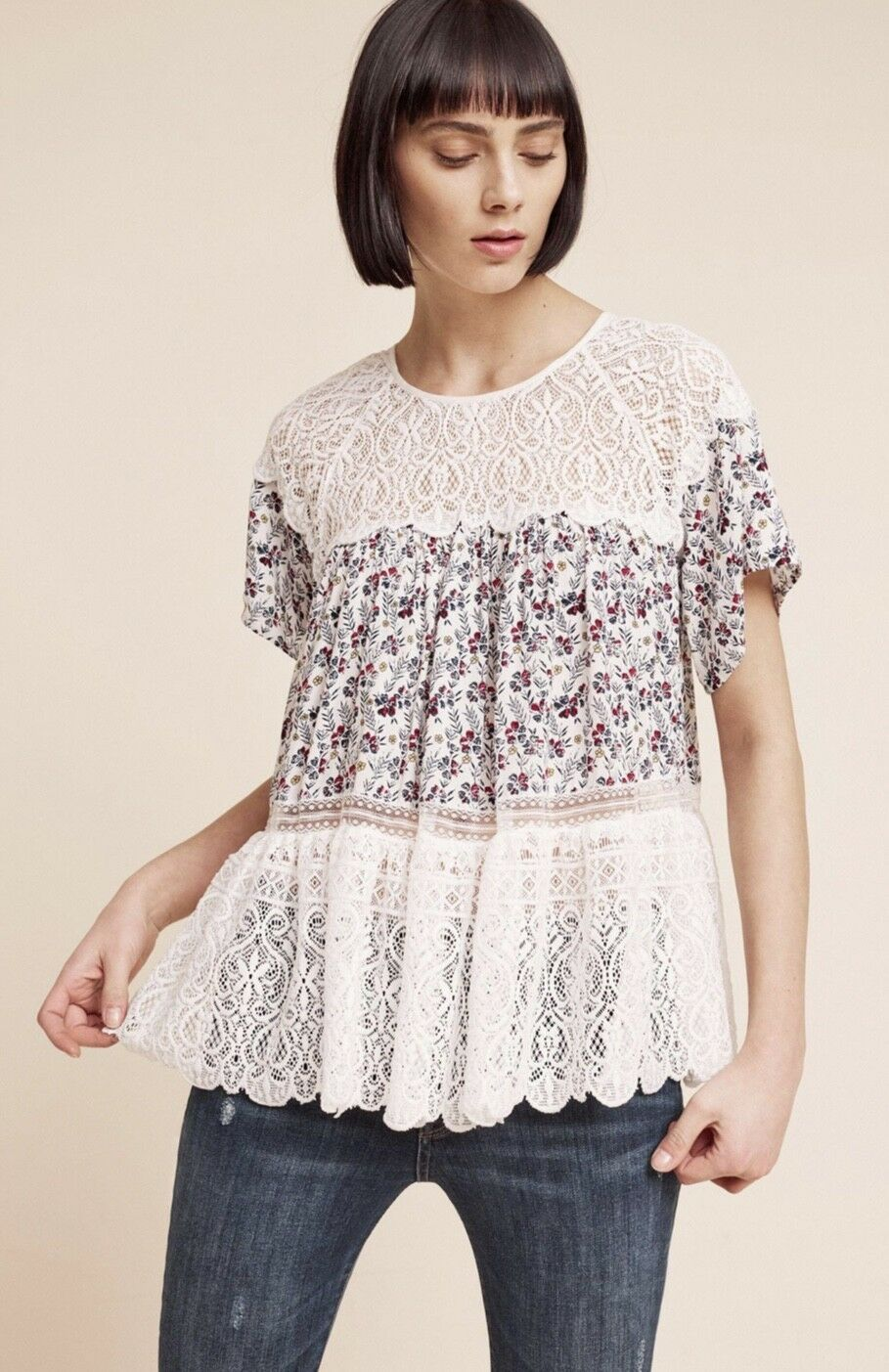 NEW Anthropologie ivory Floral Lace Ruffle Tierot Swing Blouse Top S