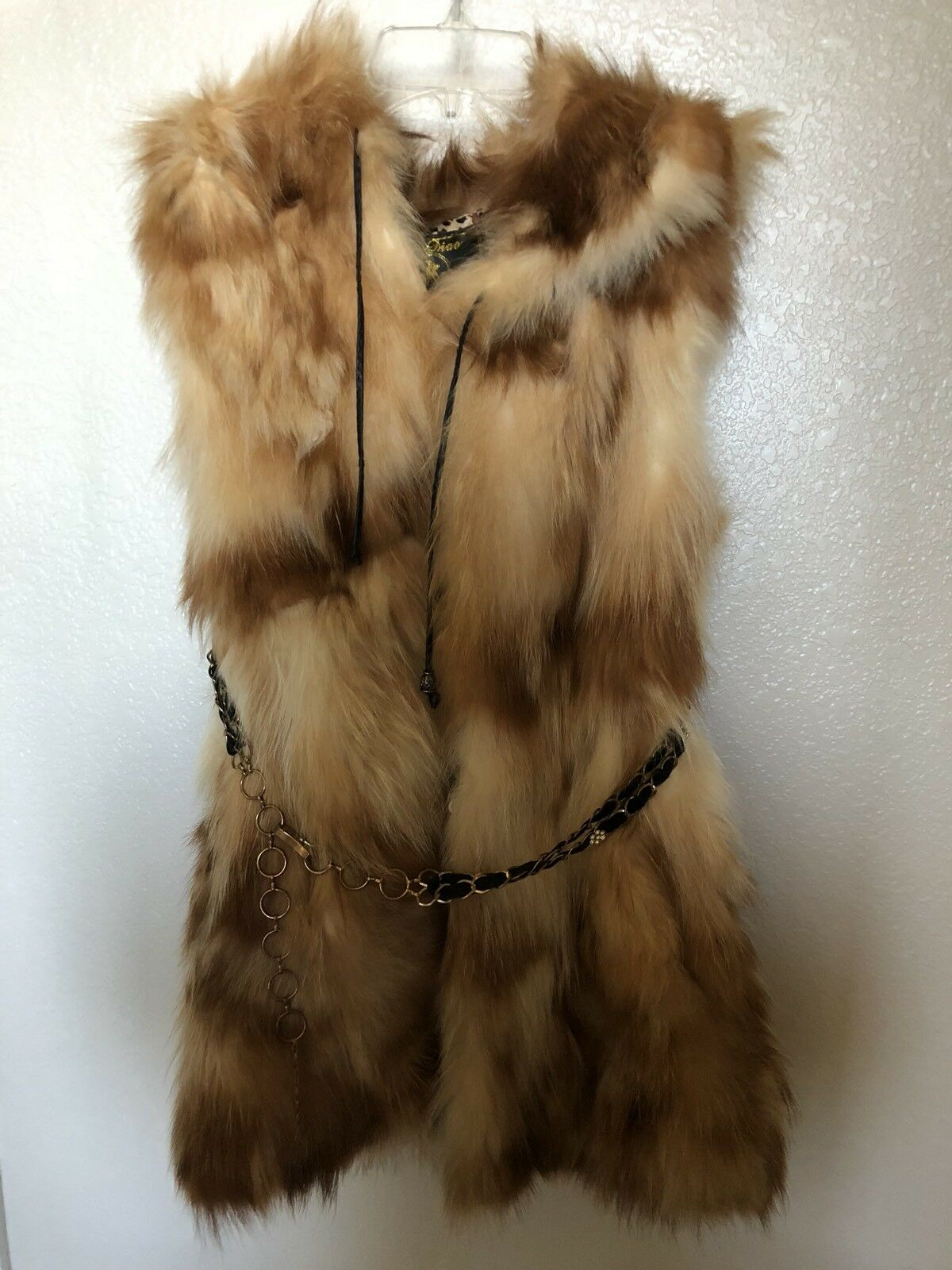 100% Real Genuine Fox Fur Vest Fox Collar Gilet Waistcoat Winter with Hood Sz M