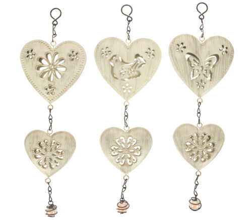 DOUBLE HEART WIND CHIME ~ 3 STYLES ~ BUTTERFLY ~ BIRD ~ FLOWER ~ INDOOR OUTDOOR