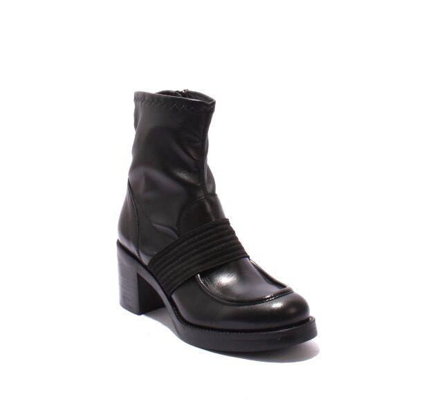 Laura Bellariva 7085 Cuero Negro Cuero 7085 Elástico Tacón Cremallera botas 39.5 US 9.5 6e532a