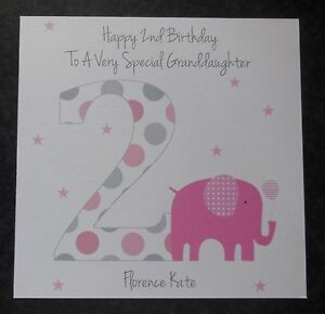 Image Is Loading Personalised Girls 2nd Birthday Card Granddaughter Niece Daughter