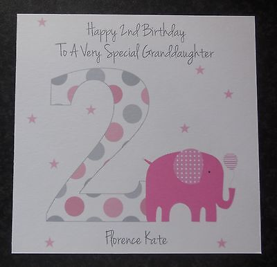 Personalised 2nd birthday card for girl daughter sister edit name 2 bday card