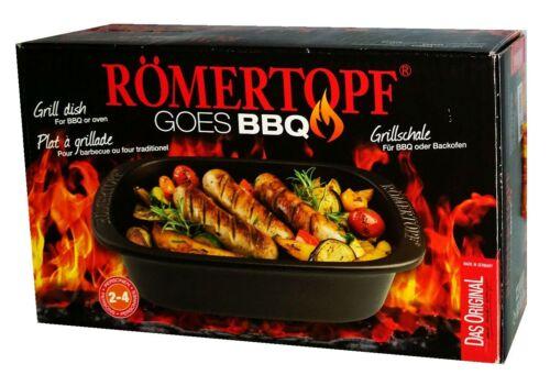 Römertopf Bräter BBQ Grillschale Keramik schwarz 2,3 Liter
