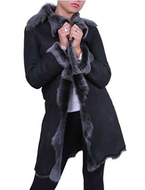 Women's Sheepskin Lambskin 100% Leather  fur long coat    XS - 6XL NEW 7af338