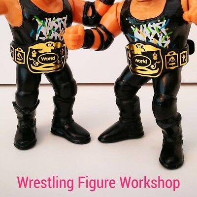 Belts for WWF WWE Hasbro Galoob Figures BLACK 1xEagle /& 1x IC YELLOW