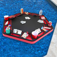 Floating Red Black Poker Table Tray Pool Game Float Drink Holder with Cards