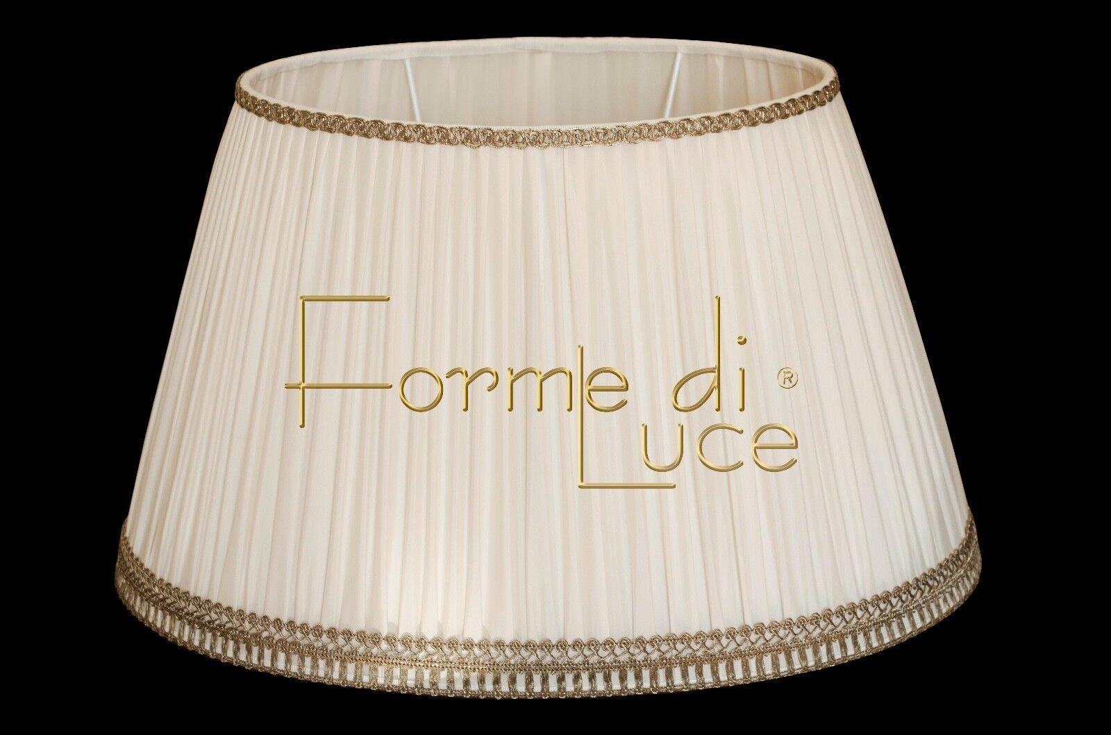 Paralume cappello OVALE diametro 50 cm. tessuto PLISSE' avorio made made made in  06aacf