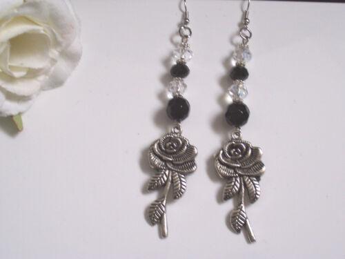 pierced or clip black//clear glass beads Long Tibetan Silver rose earrings