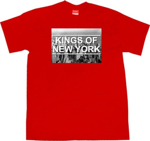 Kings Of NY New York City Skyline Graphic Tee Short Sleeve T-Shirt Black Red