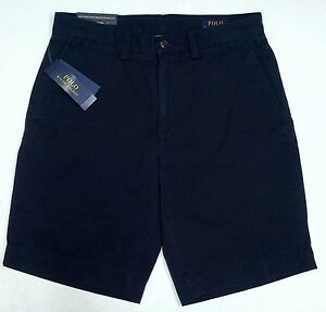 NWT-75-Polo-Ralph-Lauren-Classic-Fit-Chino-9-034-Mens-Shorts-Flat-Navy-Blue-NEW